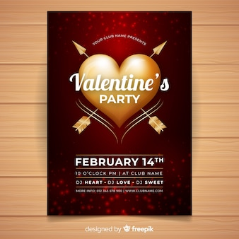 Golden heart valentine party poster template