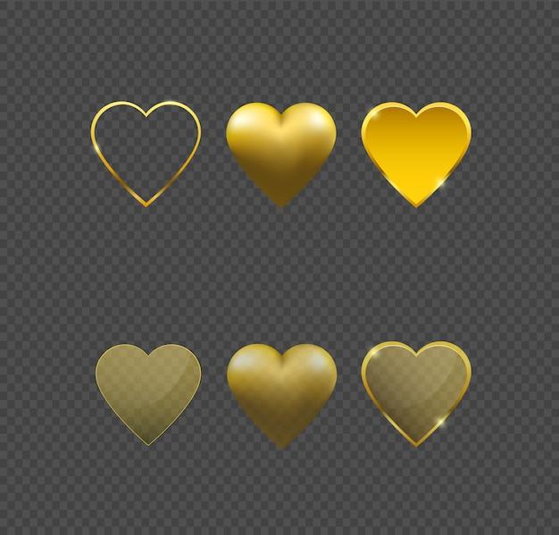 Golden heart vector.
