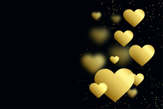 Golden hearts on black background