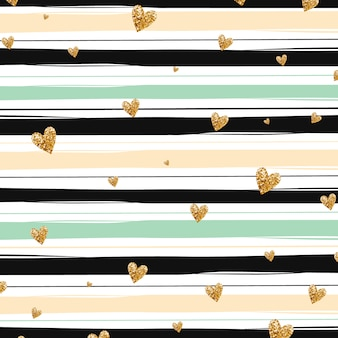 Golden hearts and green stipes background