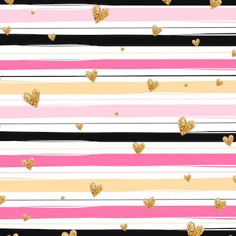Golden hearts and pink stripes background