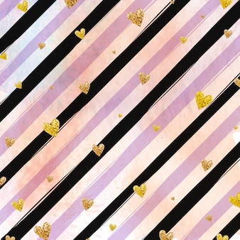 Golden hearts and purple stripes background