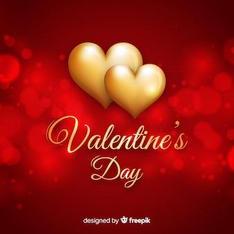 Golden hearts valentine background