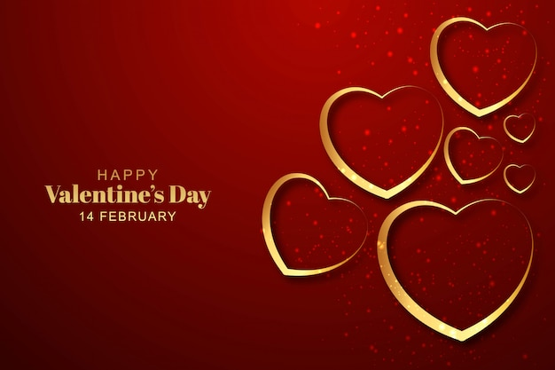 Golden hearts valentines day background