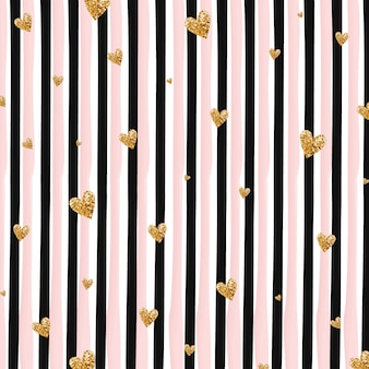 Golden hearts and vertical stripes background