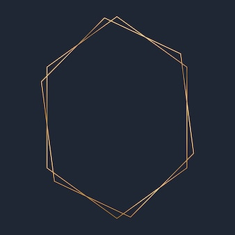 Golden hexagon frame template vector