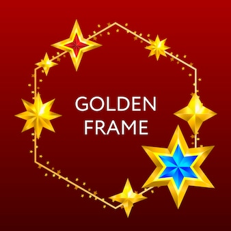 별을 가진 황금 육각형 프레임 프리미엄 벡터