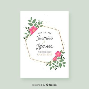 Golden hexagon wedding invitation template