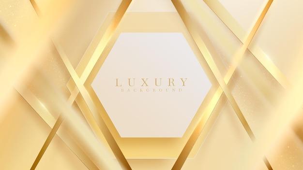 반짝이는 빛과 흐릿한 선 효과 요소가 있는 황금 육각형, 고급 벽지 배경 디자인.