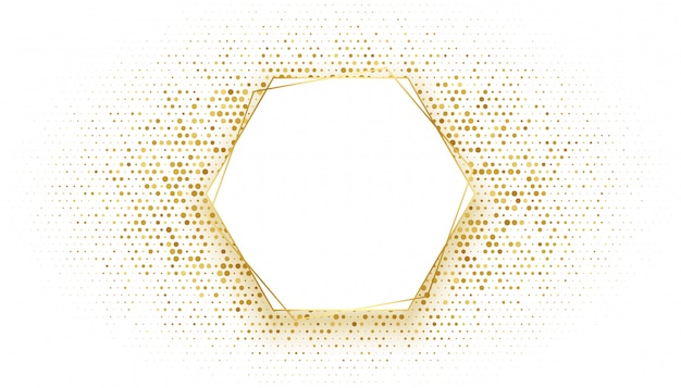 Golden hexagonal frame with glitter background