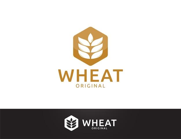 黄金の六角形の小麦のロゴデザイン