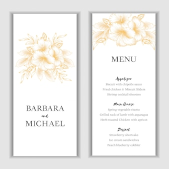 Golden hibiscus floral menu card template