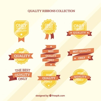 Golden high quality badges and ribbons in flat