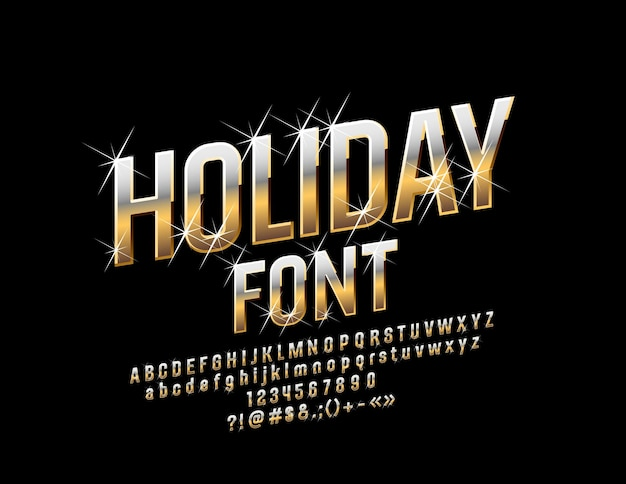 Golden holiday font with stars. luxury alphabet letters, numbers and symbols
