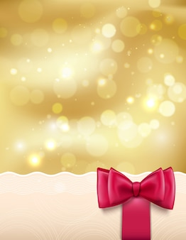 Golden holiday new year christmas background with sparks, red bow and ribbon vector illustration