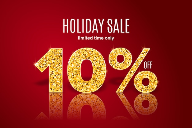 Golden holiday sale 10% off on red background. limited time only