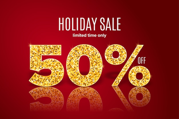 Golden holiday sale 50% off on red background.