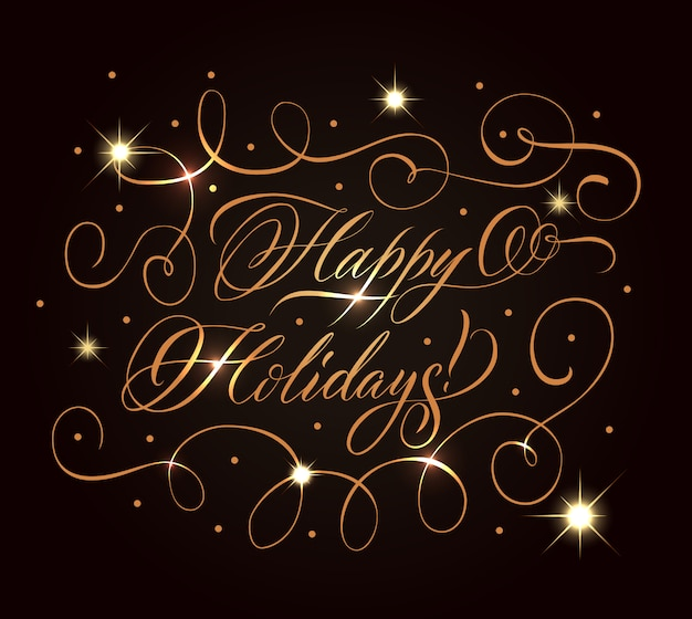 Golden holidays greeting composition