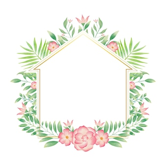 Golden home frame with colorful watercolor floral wreath