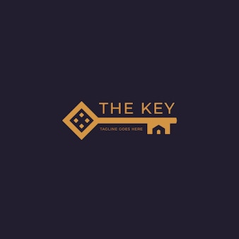Golden home house key property real estate logo with home silhouette shape inside key icon