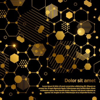 Golden honeycomb abstract geometric background template