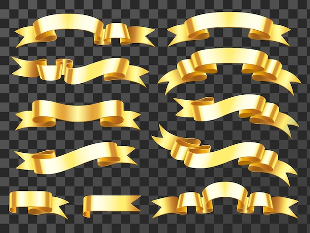 Golden horizontal celebration ribbons and award banners isolated illustration