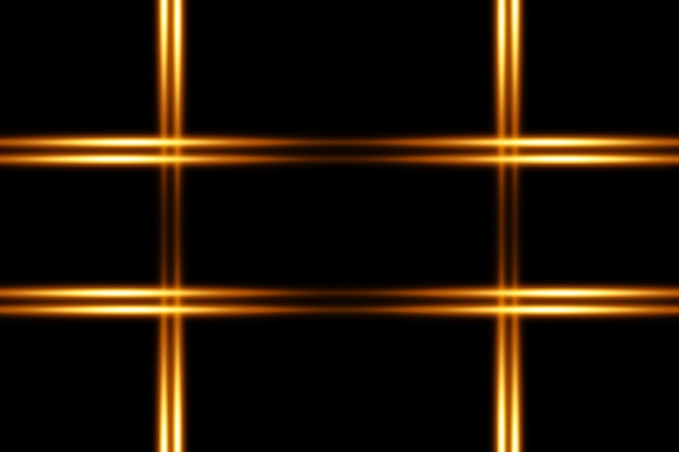 Набор золотых горизонтальных бликов. лазерные лучи, горизонтальные световые лучи. красивые световые блики. светящиеся полосы на темном фоне.