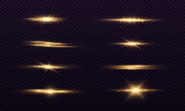 Golden horizontal lens flares pack laser beams light flare luminous abstract sparkling lines