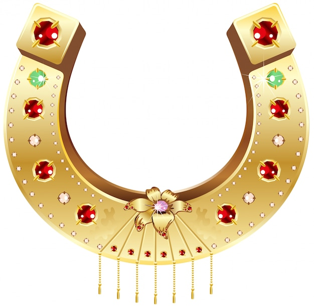 Golden horseshoe decorated with precious stones and flowers