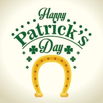 Golden horseshoe saint patrick day greeting card