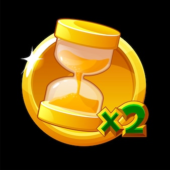 Golden hourglass icon, doubling time for ui games.