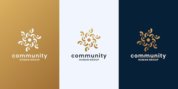 黄金の人間グループ、コミュニティのロゴデザインベクトル