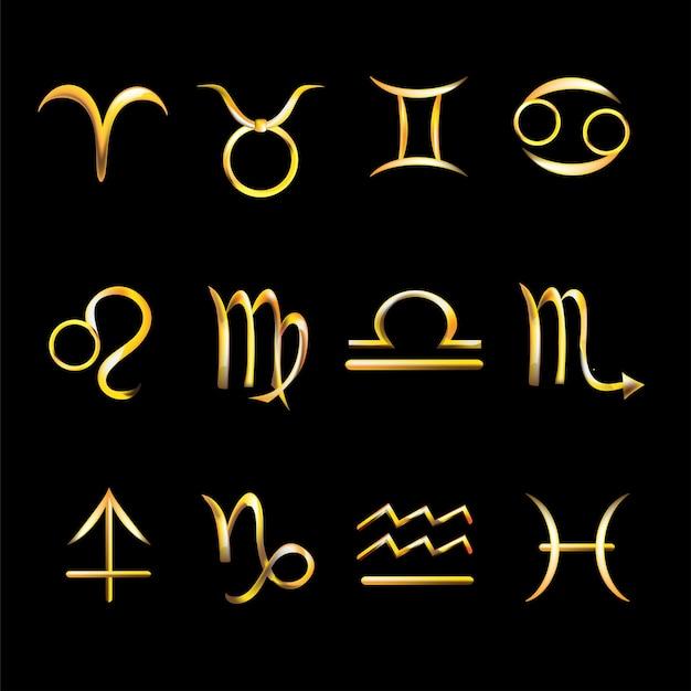 황금 아이콘 조디악 표지판입니다. 점성. 양자리, 황소자리, 쌍둥이자리, 게자리, 사자자리, 처녀자리, 천칭자리, 전갈자리, 궁수자리, 염소자리, 물병자리, 물고기자리. 어두운 배경에 고립 된 두꺼운 선 아이콘