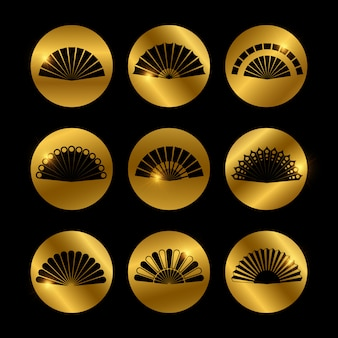 Golden icons with fans black silhouette