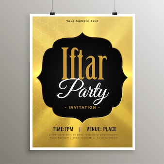Golden iftar ramadan party invitation template