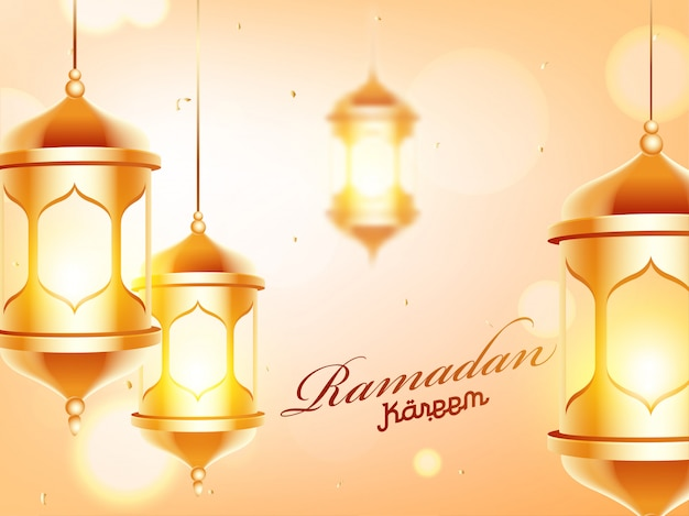 Golden illuminated lanterns decorated on bokeh background for ra
