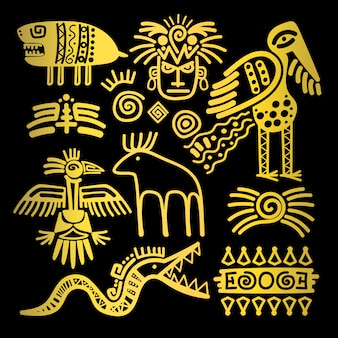 Golden indian traditional signs and symbols