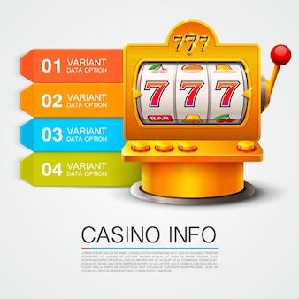 Golden info list slot machine wins the jackpot. isolated on white background . vector illustration