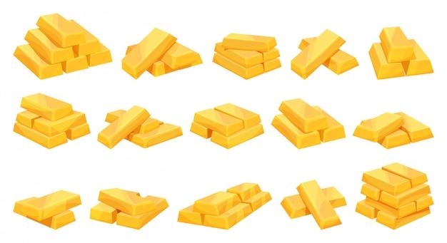 Золотой слиток мультфильм установить значок. иллюстрация золотых слитков на белом фоне. изолированный мультфильм набор значок золотой слиток.