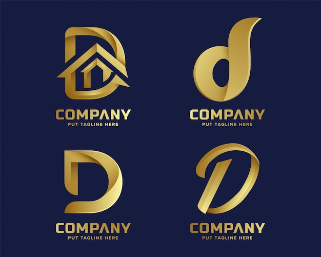 Golden inital letter d logo collection