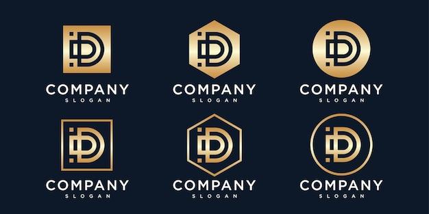 ゴールデンイニシャル文字dロゴデザインテンプレート