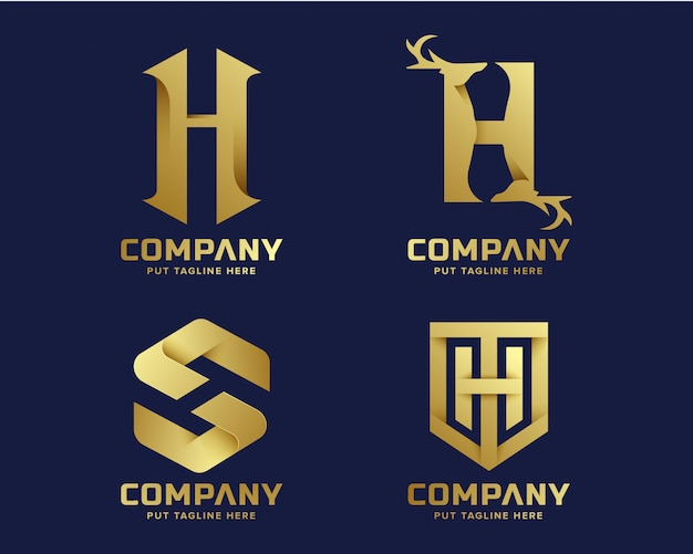 Golden inital letter h logo collection