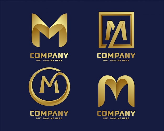 Golden inital letter m logo collection