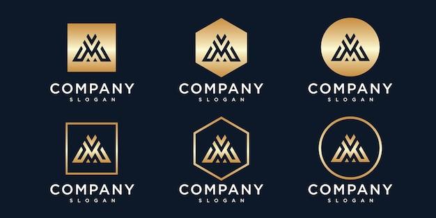 Золотая начальная буква m с логотипом
