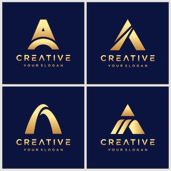 골든 초기 문자 swoosh 요소가있는 로고 디자인.