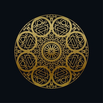 Golden ink geometric mandala linear vector illustration