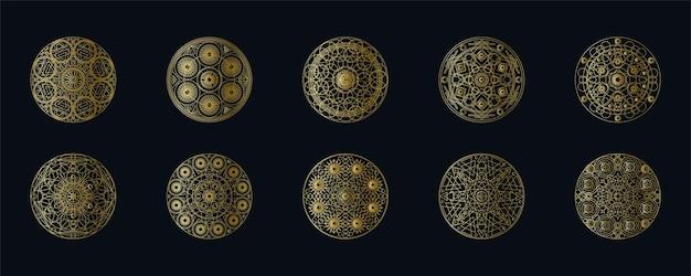 황금 잉크 기하학적 만다라 선형 벡터 집합입니다. 블랙에 고립 된 민족 동양 상징