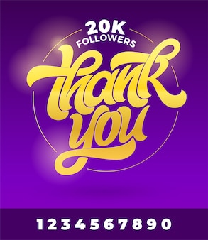 Golden inscription thank you followers on dark violet background. handwritten brush lettering with all numbers