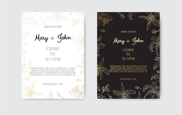 Golden invitation with floral elements.