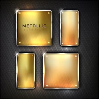 Golden iron web set button on black background